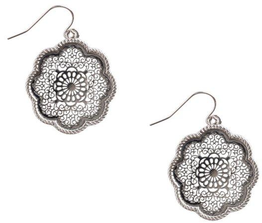 silver mandala earring