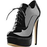 Amazon.com | SHOW STORY Vintage Style Blue White Eyelet Lace-Up Platform High Heel Stiletto Ankle Bootie Pump Shoe, LF30312BU35, 4US, Blue | Ankle & Bootie