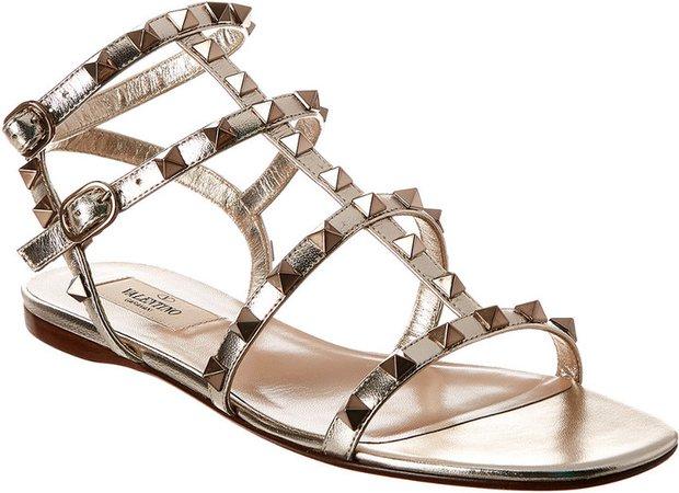 Rockstud Caged Leather Sandal