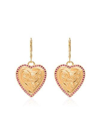 Yellow Gold Ileana Makri Heart Pendant Earrings | Farfetch.com