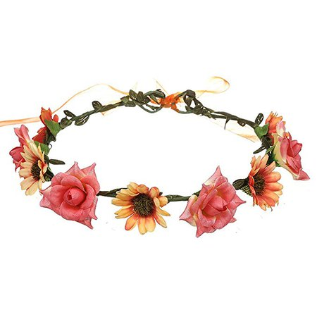 June Bloomy Rose Daisy Flower Headband Bohemia Floral Crown Headwear for Photo (Pink) at Amazon Women's Clothing store: