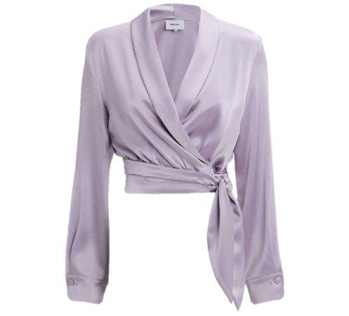 purple satin shirt