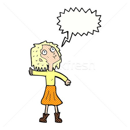 cartoon woman looking up to the sky with speech bubble vector illustration © lineartestpilot (#5346022) | Stockfresh