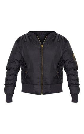 Alexus Black Bomber Jacket   Knitwear   PrettyLittleThing USA