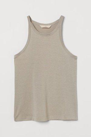 Silk-blend Tank Top - Beige - Ladies | H&M US