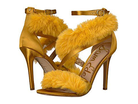 Yellow Fur Pumps