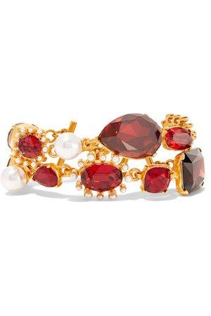 Oscar de la Renta | Gold-tone, crystal and faux pearl bracelet | NET-A-PORTER.COM