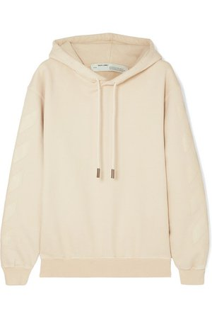 Off-White | Printed cotton-terry hoodie | NET-A-PORTER.COM