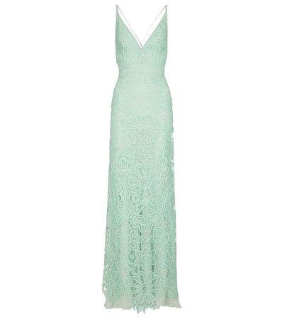 Costarellos - Zanna lace and silk chiffon gown | Mytheresa