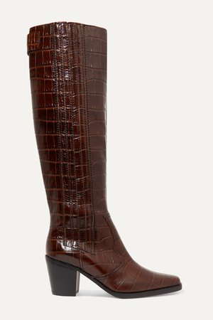 Brown Western croc-effect leather knee boots | GANNI | NET-A-PORTER