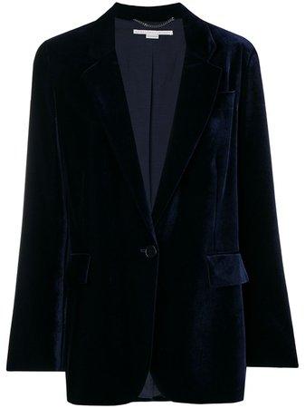 Blue Stella Mccartney Velvet Button Blazer | Farfetch.com