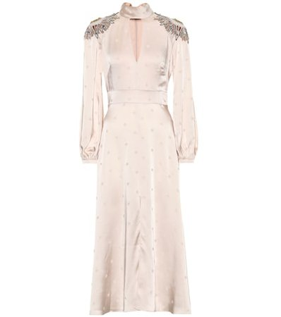 Embellished satin midi dress
