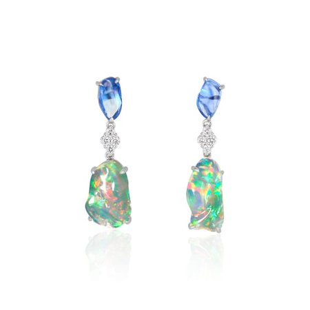 Ice Drops Blue Sapphire Clear Fire Opal & Diamond Earrings | Ri Noor | Wolf & Badger