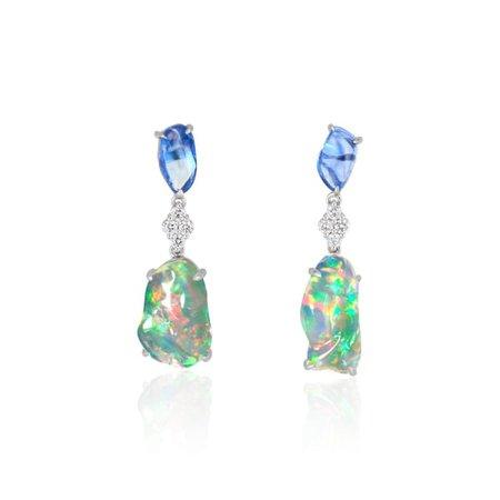 Ice Drops Blue Sapphire Clear Fire Opal & Diamond Earrings | Ri Noor | Wolf & Badger