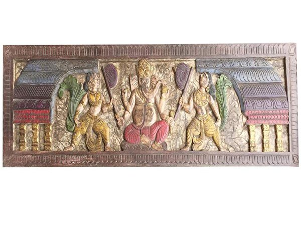 Amazon.com: Mogul Interior Antique Wall headbord Vintage Hand Carved Sitting Ganapati Bohemian Decor: Kitchen & Dining