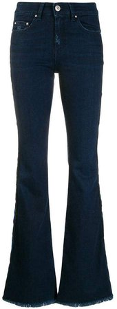 Don't Cry press stud flared jeans