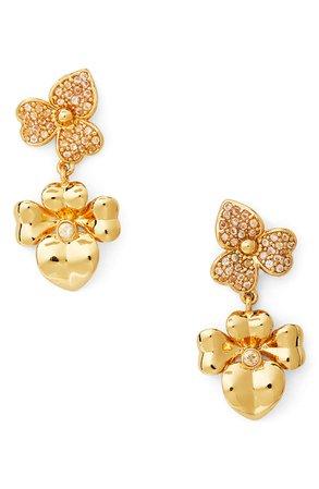 kate spade new york precious pansy pavé drop earrings   Nordstrom