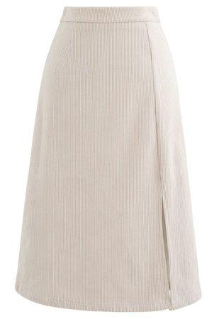 Front Split Corduroy Midi Skirt in Cream - Retro, Indie and Unique Fashion