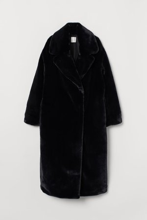 Faux Fur Coat - Black