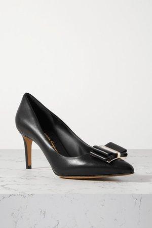 Zeri Bow-embellished Leather Pumps - Black