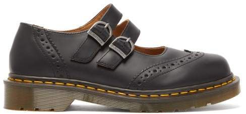 X Dr Martens Dolly Buckled Leather Brogues - Womens - Black