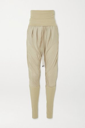 Jersey-paneled Washed-twill Track Pants - Beige