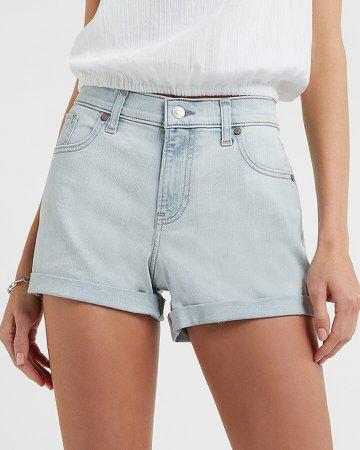 Mid Rise Light Wash Convertible Raw Hem Jean Shorts