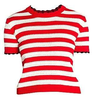 Miu Miu Women's Striped Short Sleeve Sweater
