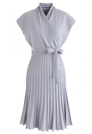 Pleated Sleeveless Wrapped Knit Dress in Lavender - NEW ARRIVALS - Retro, Indie and Unique Fashion