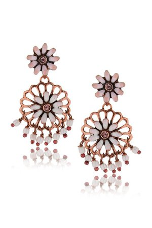 VINCENT FILAC SAKURA Bronze White Beads Earrings – PRET-A-BEAUTE.COM