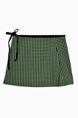 Lime Green Gingham Swim Skirt   Topshop