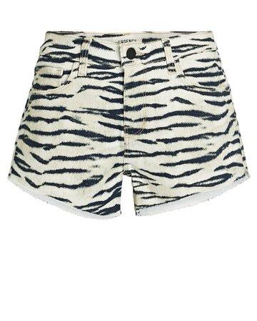 L'Agence Audrey Tiger Cut-Off Denim Shorts | INTERMIX®