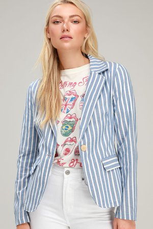 Classic Light Blue Blazer - Lightweight Blazer - Striped Blazer - Lulus