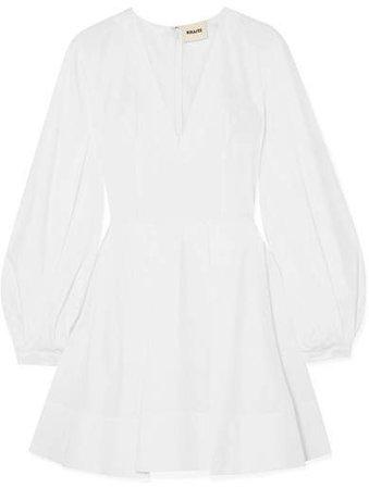 Khaite - Denise Pleated Cotton-poplin Mini Dress - White
