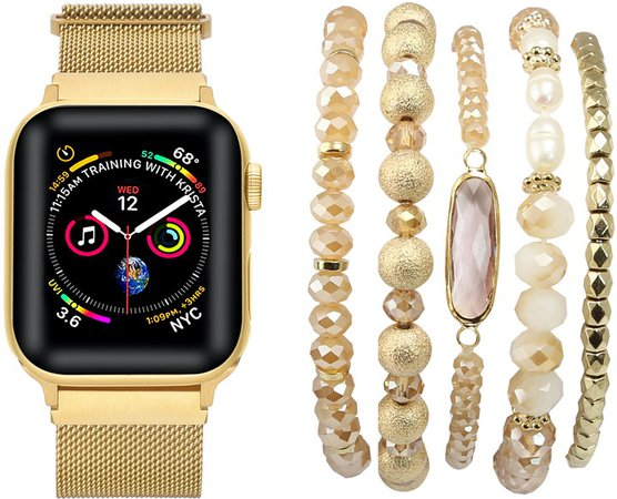 The Posh Tech Metal Loop Band & Gold Bracelet for Apple Watch(R)