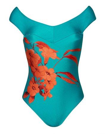 Figleaves Fantasia Tropical Print Off The Shoulder Swinsuit | Ted Baker | Figleaves