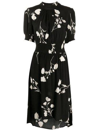 Black Ba&sh Poppy Floral-Print Midi Dress   Farfetch.com