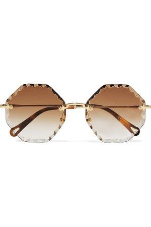 Chloé | Octagon-frame gold-tone sunglasses | NET-A-PORTER.COM