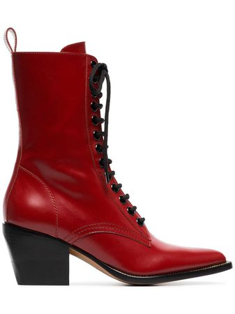 Chloé Red Rylee Medium 60 Leather Boots - Farfetch