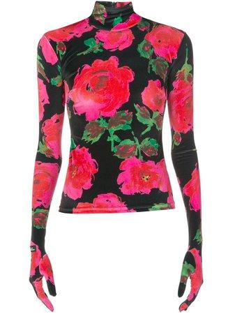 Richard Quinn Floral Print Glove Style Top - Farfetch