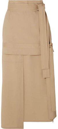 Belted Wool-blend Midi Skirt - Beige