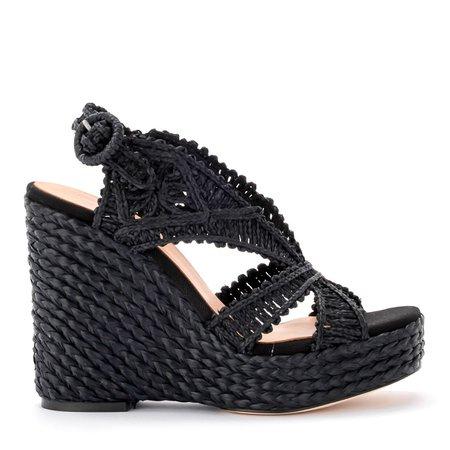 Paloma Barceló Mercedes Black Rafia Wedge Shoes