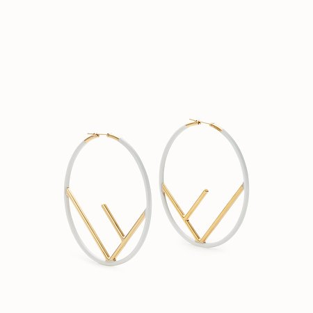 Gold and white coloured earrings - F IS FENDI EARRINGS | Fendi