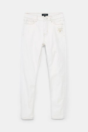Jeans with embroidered heart | Desigual.com