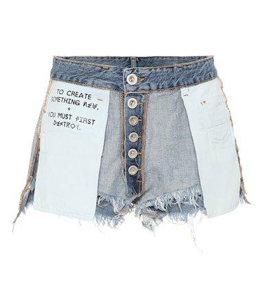 Reversed denim shorts