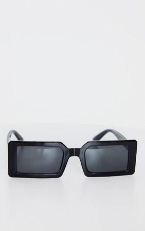 Black Squareframe Slimline Sunglasses | PrettyLittleThing USA