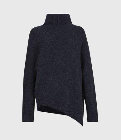 ALLSAINTS US: Womens Lock Roll Neck Sweater (total_eclipse_blue)