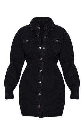 Washed Black Cinched Waist Denim Dress   PrettyLittleThing USA