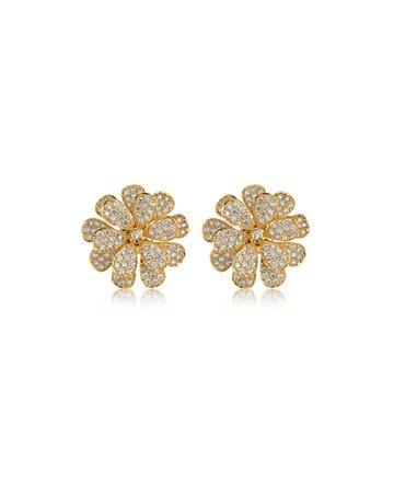 Hueb Secret Garden 18k Gold & Diamond Flower Stud Earrings | Neiman Marcus