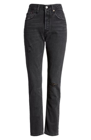 Levi's® 501® Ripped High Waist Skinny Jeans (Black Mail) | Nordstrom